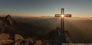 light shining through cross