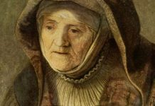 """""""The Prophetess Anna"""" by Rembrandt [cropped], public domain via Wikimedia Commons"""