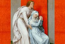 """""""The Crucifixion, with the Virgin and Saint John the Evangelist Mourning"""" by Rogier van der Weyden (cropped)"""