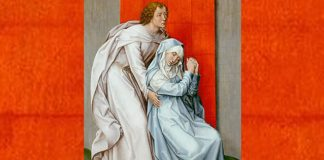 """The Crucifixion, with the Virgin and Saint John the Evangelist Mourning"" by Rogier van der Weyden (cropped)"