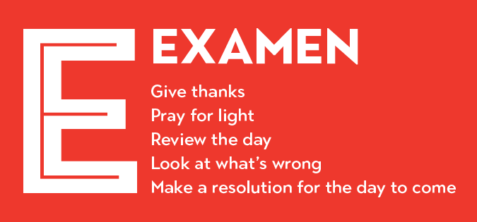 "Examen - steps as outlined in ""Ignatian Spirituality A to Z"""