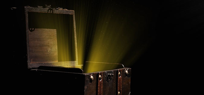 treasure box with light shining out of it