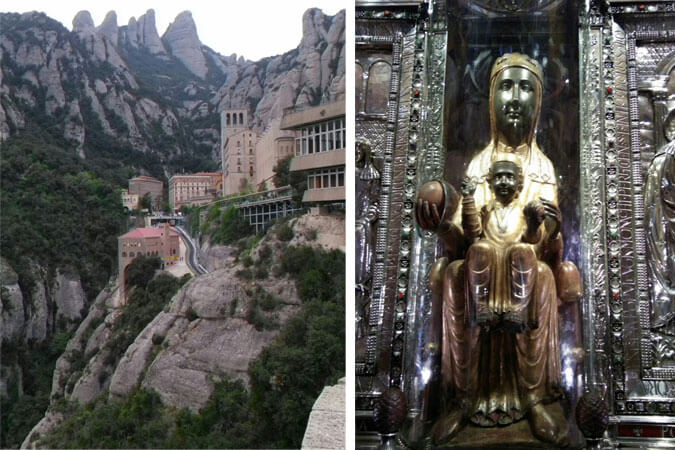 view of Montserrat in Spain and Our Lady of Montserrat