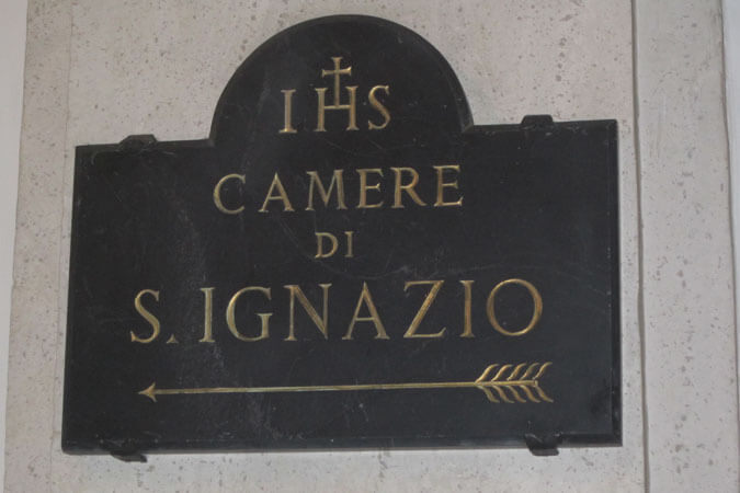 sign to the rooms of St. Ignatius, in Rome