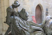 wounded St. Ignatius - statue at Loyola castle in Spain