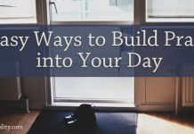 5 Easy Ways to Build Prayer into Your Day - words against a background of an entryway with shoes at the door
