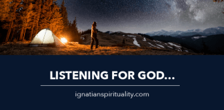 person camping - text: Listening for God