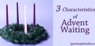 Advent wreath next to words: 3 Characteristics of Advent Waiting