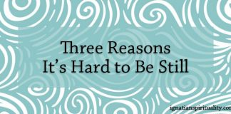 Three Reasons It's Hard to Be Still - text on background of green swirls