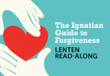 The Ignatian Guide to Forgiveness Lenten Read-Along - text next to hands holding heart image