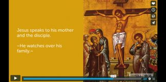 """Video screenshot from """"How Jesus Responds to Suffering as Demonstrated in the Scriptural Stations of the Cross"""" showing icon of Crucifixion"""