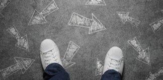 making a decision - arrows near feet