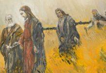 Jesus walks with disciples