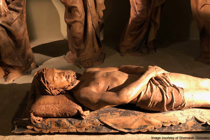 Jesus' body in Niccolo dell'Arca's Mourning over the Dead Christ – photo courtesy of Shemaiah Gonzalez