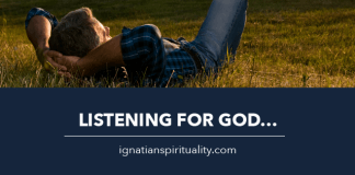 man relaxing in a field - text: Listening for God