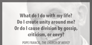 """""""What do I do with my life? Do I create unity around me? Or do I cause division by gossip, criticism, or envy?"""" - Pope Francis in """"The Church of Mercy"""""""