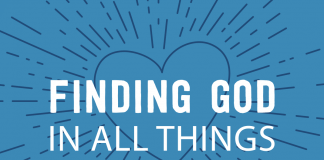 Finding God in All Things - text overlaid on heart