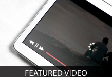Featured Video - text next to image of tablet with video loading
