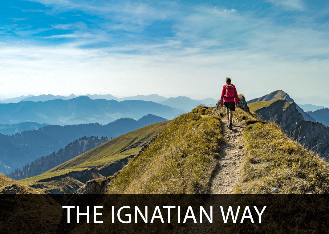 The Ignatian Way - text next to image of person hiking