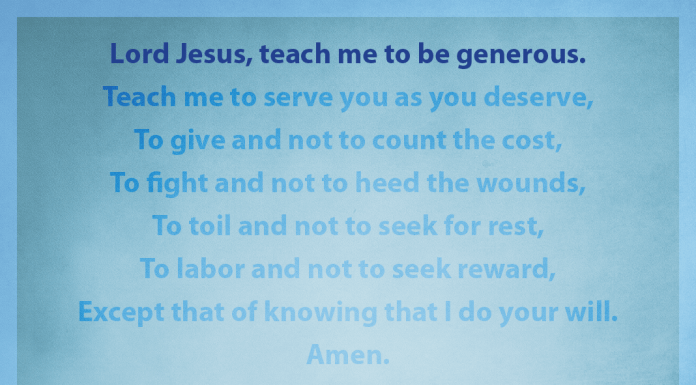 """Prayer for Generosity - """"Lord Jesus, teach me to be generous"""" line highlighted"""