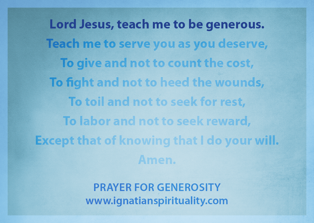 "Prayer for Generosity - ""Lord Jesus, teach me to be generous"" line highlighted"