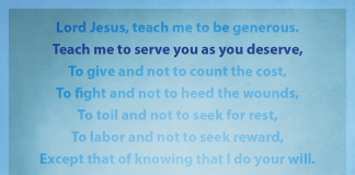 "Prayer for Generosity - ""Teach me to serve you as you deserve"" line highlighted"