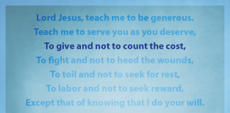 "Prayer for Generosity - ""To give and not to count the cost"" line highlighted"
