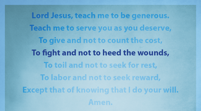 """Prayer for Generosity - """"To fight and not to heed the wounds"""" line highlighted"""