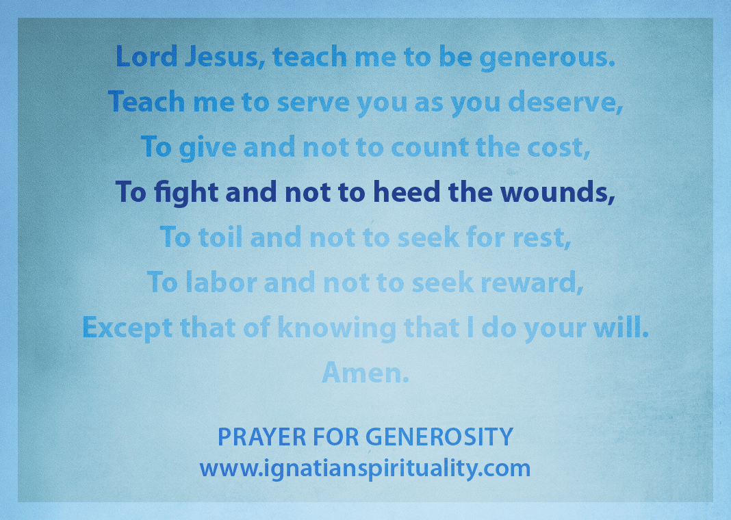 "Prayer for Generosity - ""To fight and not to heed the wounds"" line highlighted"