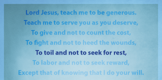 "Prayer for Generosity - ""To toil and not to seek for rest"" line highlighted"