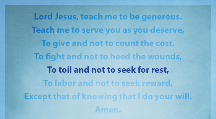 """Prayer for Generosity - """"To toil and not to seek for rest"""" line highlighted"""