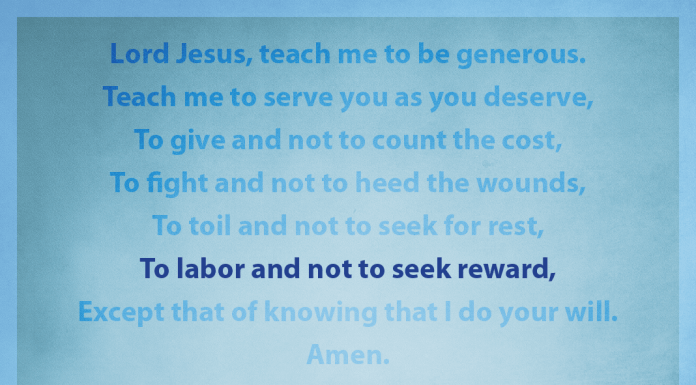 """Prayer for Generosity - """"To labor and not to seek reward"""" line highlighted"""
