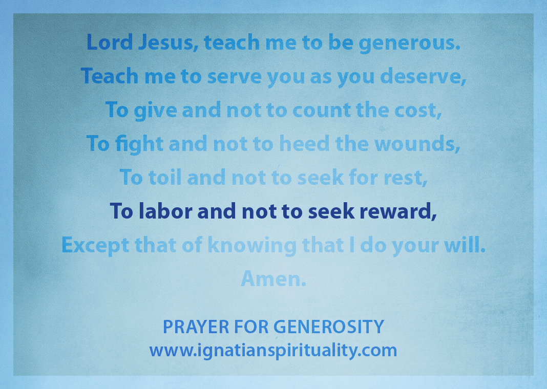 "Prayer for Generosity - ""To labor and not to seek reward"" line highlighted"