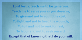 "Prayer for Generosity - ""Except that of knowing that I do your will"" line highlighted"