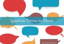 Ignatian Terms to Know – text written on speech bubbles
