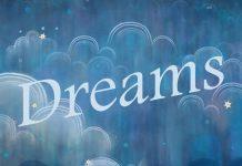 dreams - word floating on a starry cloudy sky background