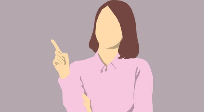 illustration of woman thinking and pointing