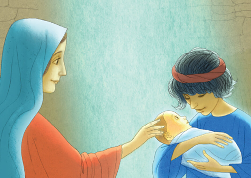 """Mary and Shepherd holding baby Jesus - spread from """"The Shepherd's Story"""" from Loyola Press"""