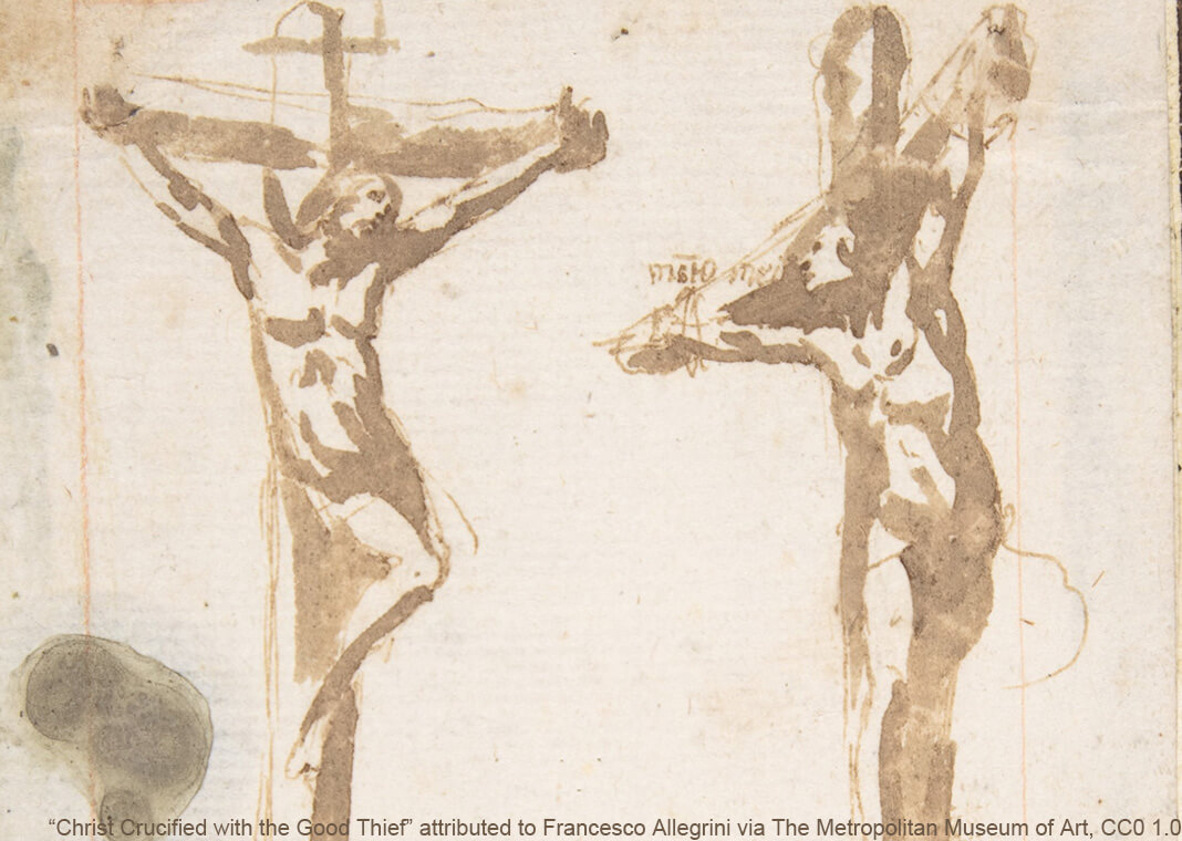 """Christ Crucified with the Good Thief"" attributed to Francesco Allegrini, via The Metropolitan Museum of Art, CC0 1.0"