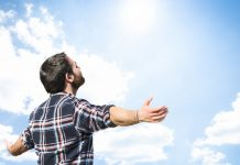 man breathing in outdoors