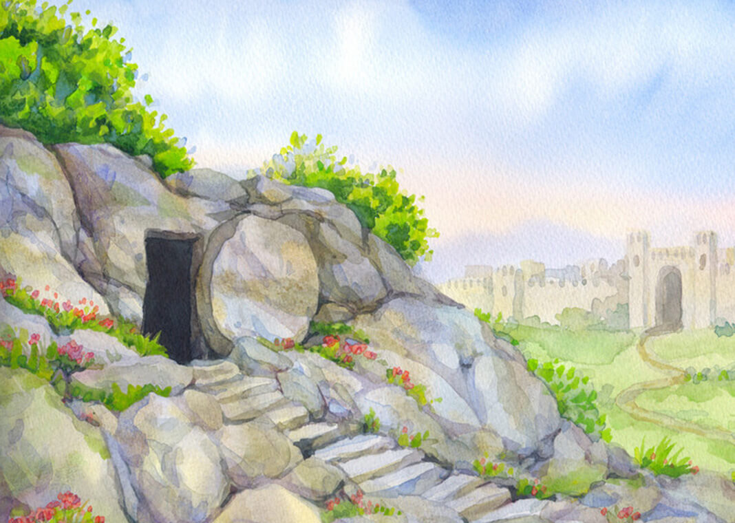 illustration of open tomb, indicating Resurrection