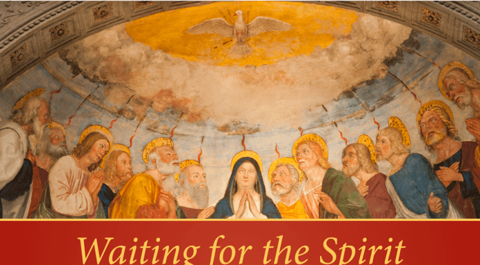 Waiting for the Spirit: Ascension to Pentecost Retreat - text next to image of disciples at Pentecost