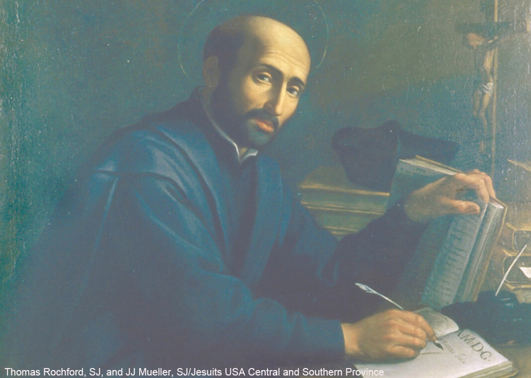 St. Ignatius sitting at his desk, writing
