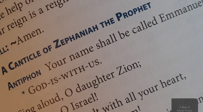 """Zephaniah 3:14-17 page from """"A Book of Marian Prayers"""""""