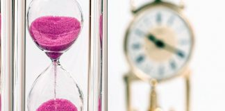 hourglass and clock