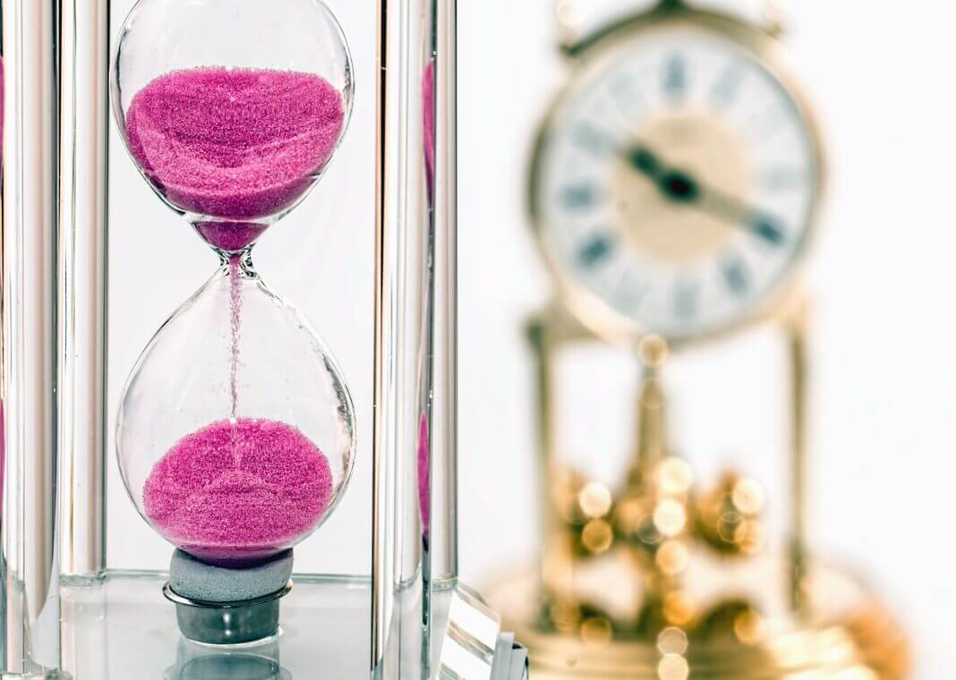 hourglass and clock