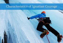 "ice climber next to text ""Characteristics of Ignatian Courage"" - image by Simon from Pixabay"