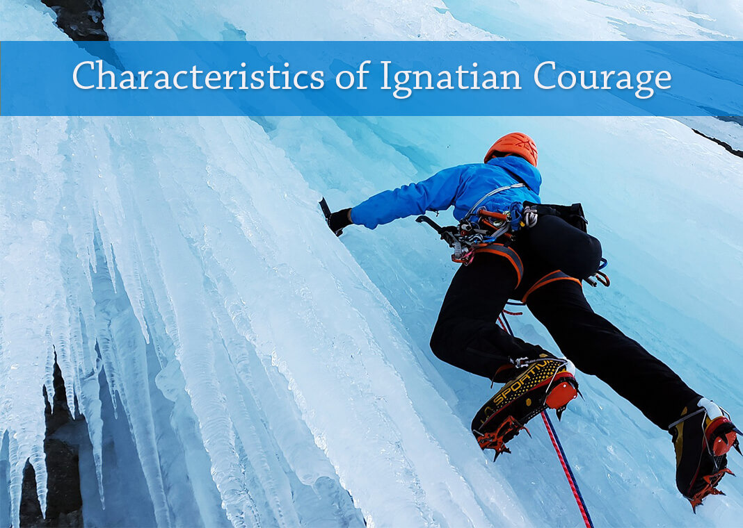 """ice climber next to text """"Characteristics of Ignatian Courage"""" - image by Simon from Pixabay"""