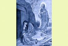 Mary Magdalene at tomb with Jesus behind her