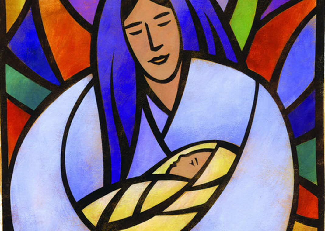 stained glass Mary holding baby Jesus